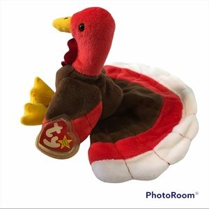 TY Beanie Baby Turkey  Gobbles Plush Stuffed Animal Rare Retired Collectable